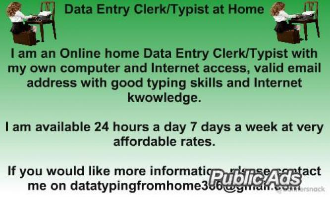 Data/Admin Typing from Home