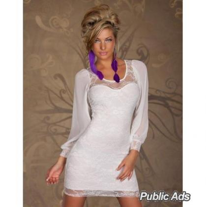 White Dress with Chiffon Sleeves