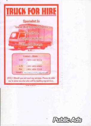 3 TON TRUCK FOR HIRE FURNITURE REMOVALS LOCAL & LONG DISTANCE
