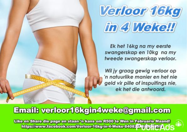 Verloor 16kg in 4 Weke