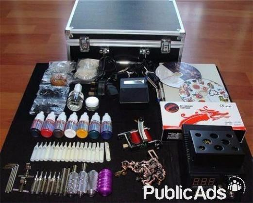 2X GUNS COMPLETE TATTOO KIT WITH LOADS OF EXTRA'S (COLOURS, ALUMINIUM GRIPS)
