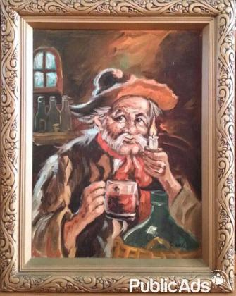 Oil Painting of Old Man by Candle Light