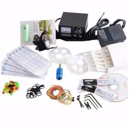 Quality tattoo kit with 1 tattoo machine, 1 grip and 7 colours