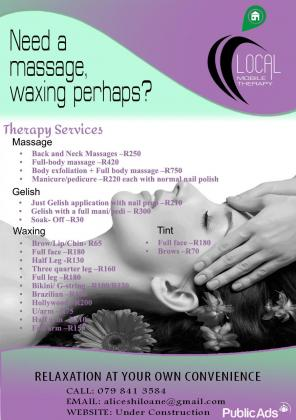 Mobile therapist for waxing and Manicures and pedicures