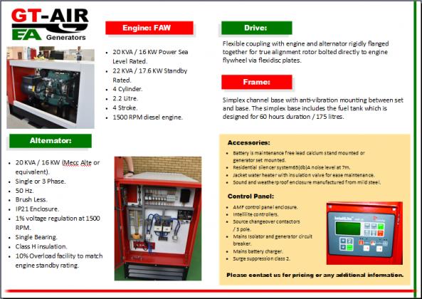 EA 20 SP/TP Generators from GT-Air - EA Generators