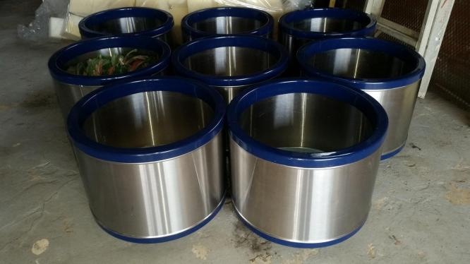 6 x 60cm Stainless Steel Office Pots