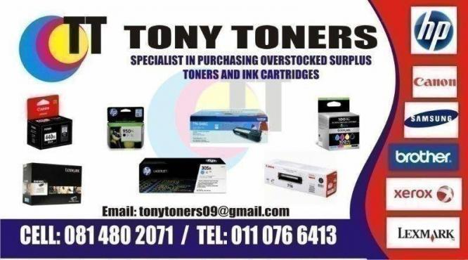 We purchase new overstocked toners & ink cartridges