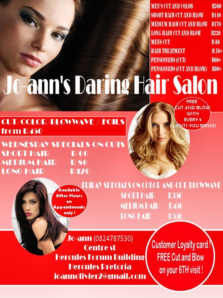 Jo Anns Daring Hair And Beauty Salon Pretoria Tshwane Public