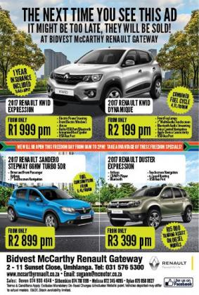 2017 Renault KWID Expression (1 YEAR INSURANCE INCLUDED WHILE STOCKS LAST)