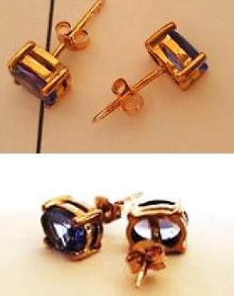 Genuine 9ct Gold & Tanzanite Earrings