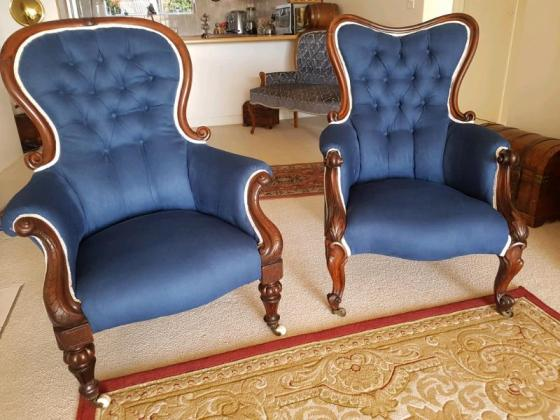Antique Victorian His & Hers Parlor Boudoir Chairs...
