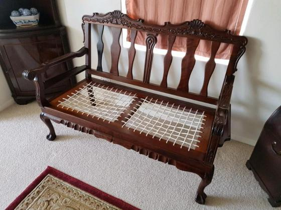 Beautiful Riempie Bench with Carved Detail ...