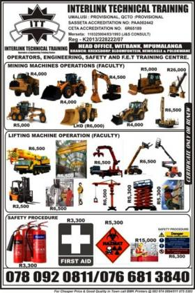 Electric Robe Shovel, Drag Line, Drill Rig, LHD, UV, CM & Mine Safety Training