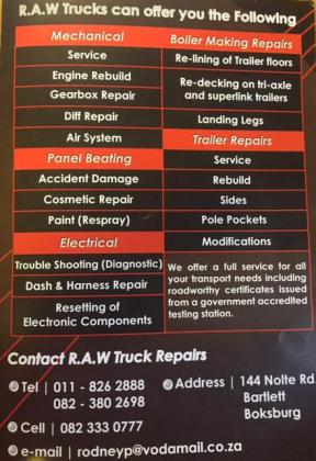 Time to save on Repairs and Maintenance on your Trucks and Trailers in Boksburg, Gauteng