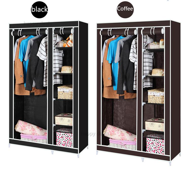 Double Canvas Wardrobe Cupboard Clothes Storage Solution With Hanging Rail Shelves