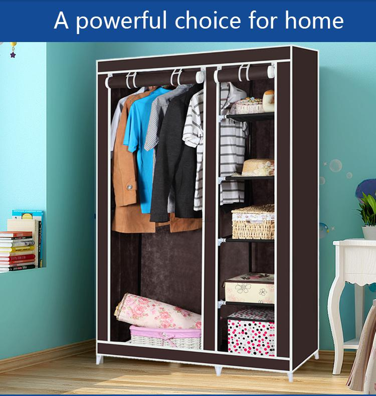 Canvas Storage Boxes For Wardrobes: Double Canvas Wardrobe Cupboard Clothes Storage Solution