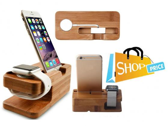 Bamboo Wood Dock for iPhone and Apple Watch