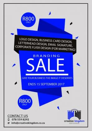 BRANDING & MARKETING SPECIAL - BRANDING SALE - ALL FOR R800