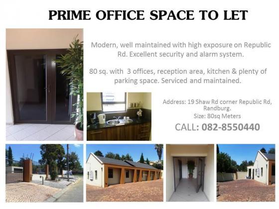 PRIME OFFICE SPACE TO LET in Randburg, Gauteng