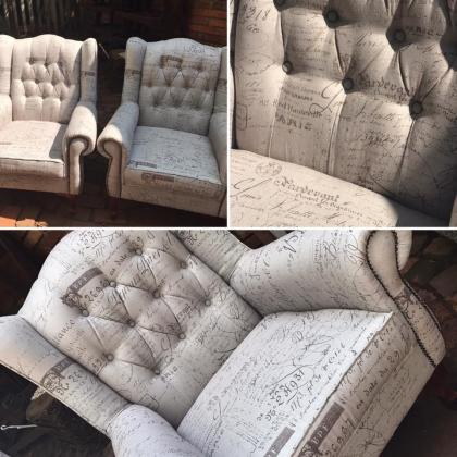 Special Custom Made Wingback Chair with free matching Ottoman