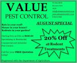 Pest Control Special: 20% OFF ALL RODENT TREATMENTS IN AUGUST!!