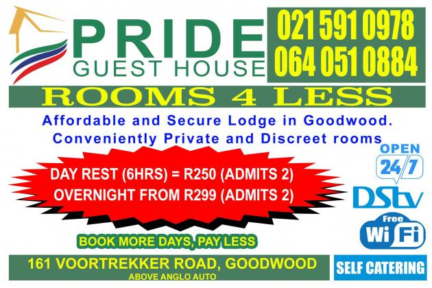 Affordable Rooms Available in Goodwood at Pride Guesthouse