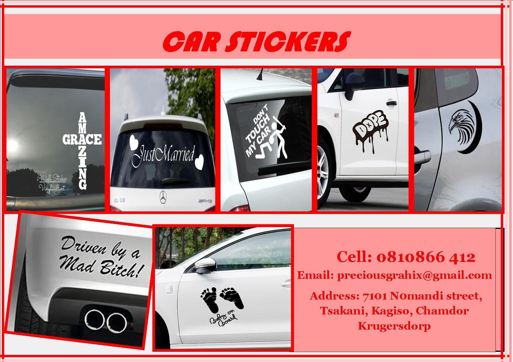 Print personalized car stickers johannesburg public ads services