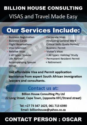 AFFORDABLE SA VISA/PERMITS RENEWALS, EXTENSIONS, LEGALIZATION ASSISTANCE