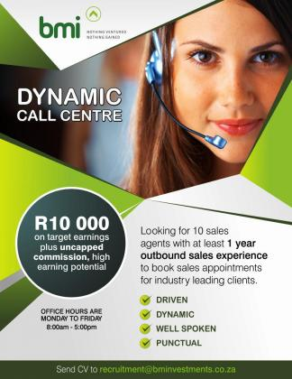 Dynamic Call centre looking for sales agents