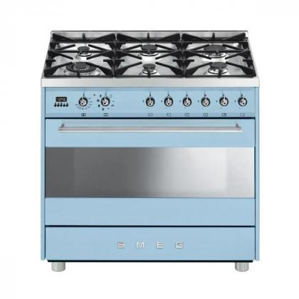 BUY SMEG 6 BURNER GAS/ELECTRIC PASTEL BLUE MODEL - C9GMAZSSA