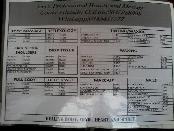 Izzy's Professional Beauty and Massage