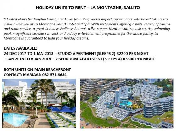 Vacation accommodation available in Ballito