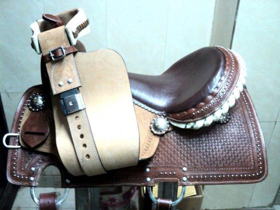 Leather cowboy horse saddle