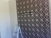Wallpaper, blinds, curtains
