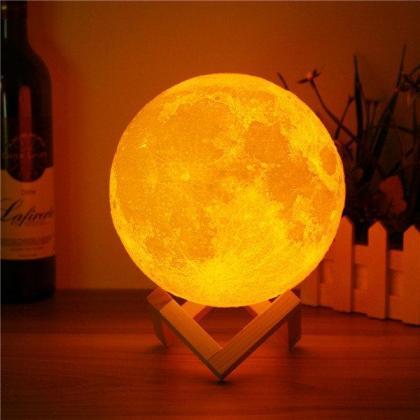 3D Magical Two Tone Moon Lamp USB Charging Luna LED Night Light Touch Sensor Gift