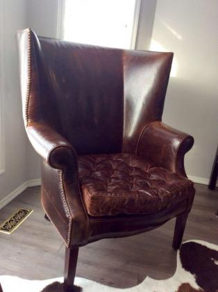 Two Gorgeous Tufted Leather Chairs