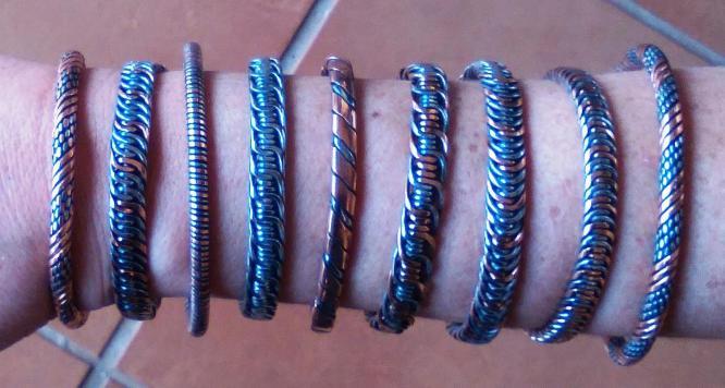 Handmade copper and steel bracelets