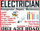 Electrician: 063 433 8040