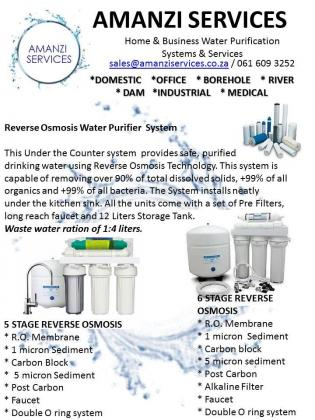 Amanzi Services - Water Purifiers servicing, replacement filters, Annual servicing, Spares
