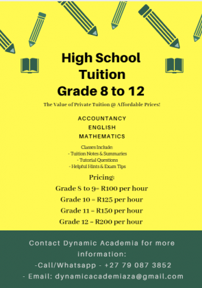 Affordable Private High School Tuition - Grade 8 to 12 - Accounting, English and Mathematics