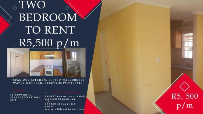Affordable Two bedroom FOR RENT  in Johanneburg for R 5, 500 in Johannesburg, Gauteng