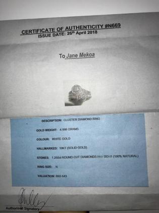 Brand New Natural Diamond Ring, 1.250ct. Valued at R65 000 in Westville, KwaZulu-Natal