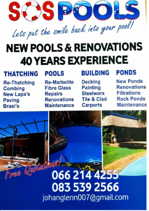 SOS POOLS:THATCHING- POOLS-BUILDING-PONDS-Imported Koi's from Israel and Japan
