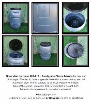 200-210 L Foodgrade Plastic barrels