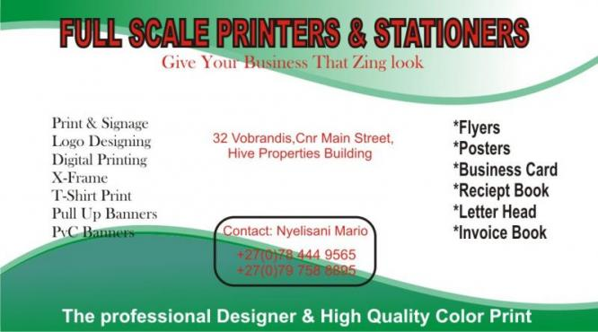 full scale printer and stationer
