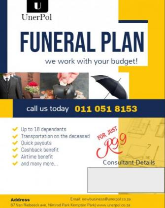 Affordable Funeral cover Only R99- up to 18 members