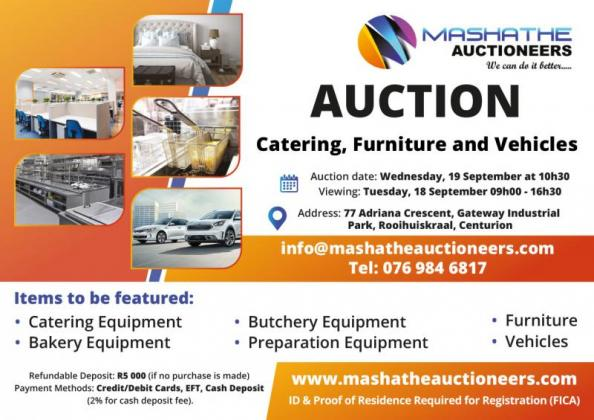 19 Sep 2018 Catering, Furniture and Vehicles Auction