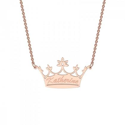 Classic Crown Pendant with your choice of name available in Sterling Silver, 9ct Yellow Gold & 9ct Rose Gold