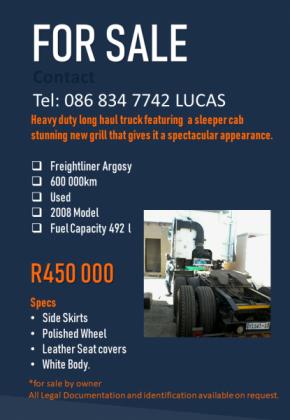 Save Money with a Frieghtliner Argosy 2008 Model in Soweto, Gauteng
