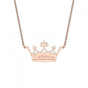 Classic Crown Pendant with your choice of name available in Sterling Silver, 9ct Yellow Gold & 9ct R